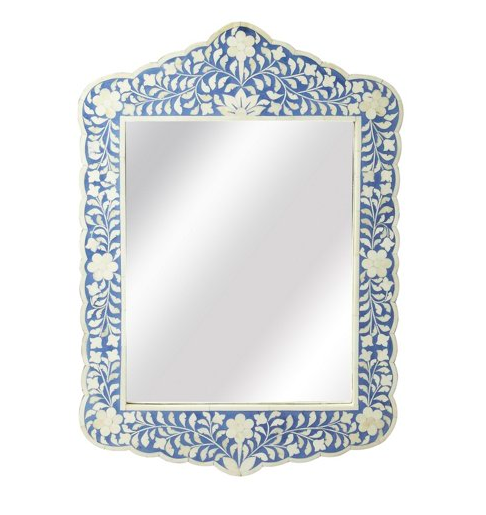 We absolutely adore this blue and white bone-inlay  wall mirror . You can always shop of  blue + white favorites here !