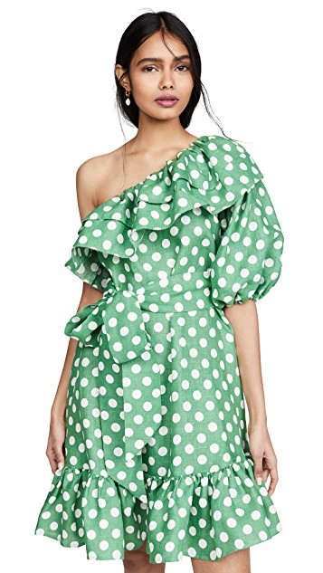 how happy is this  polka dot print dress  in the prettiest emerald color?!?!
