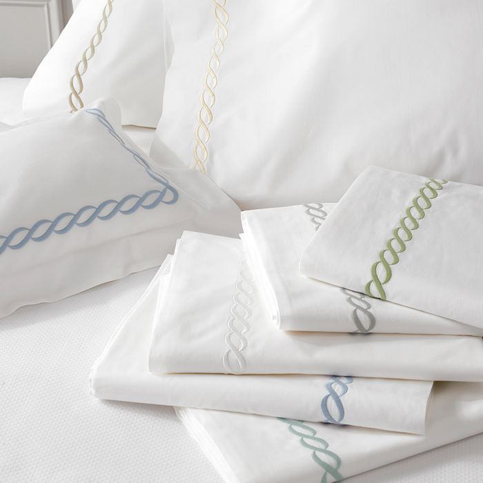 this timeless  Greek inspired chain embroidery sheet set  is what sweet dreams are made of!