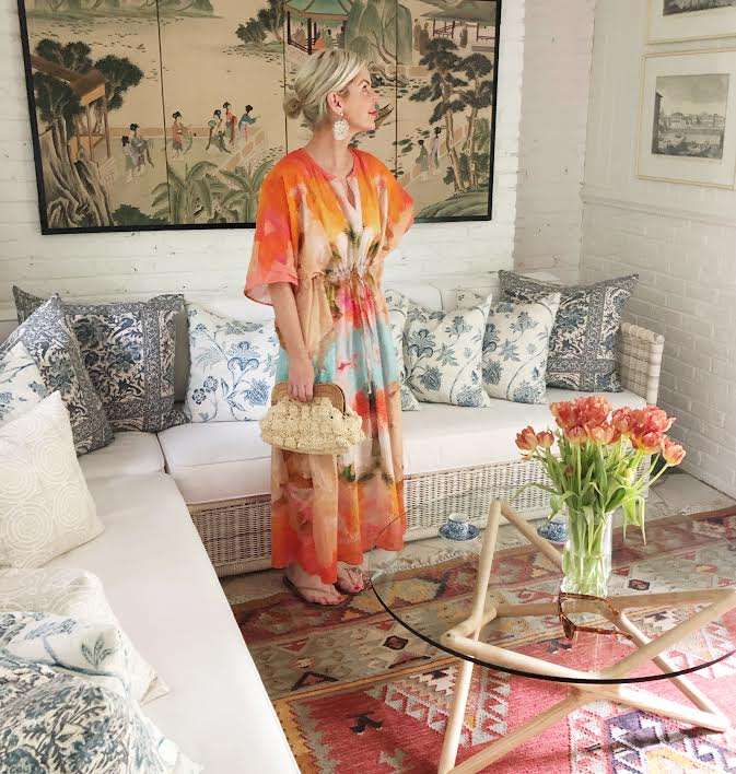you know  color makes us happy … we are loving this  vibrant caftan  by  Annie selke x Laura park !