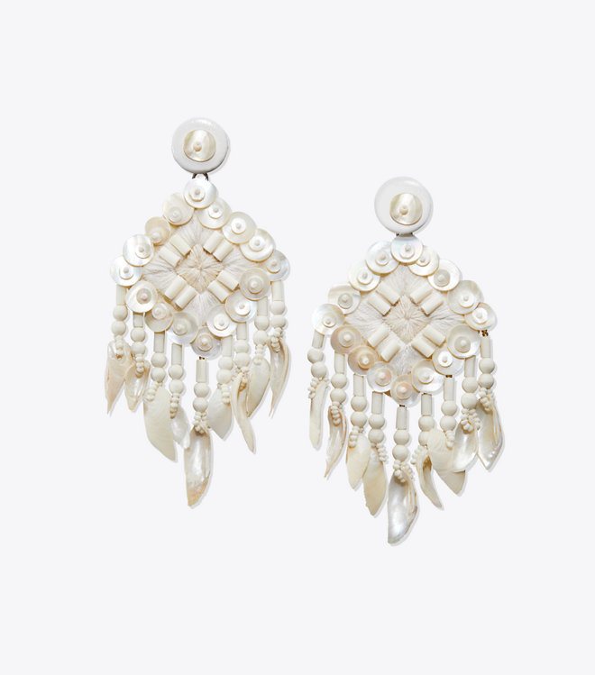 raffia + seed beads + wooden rounds + a cascade of seashell-tipped fringe =  statement earring perfection !