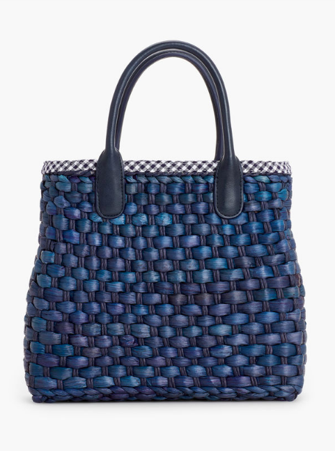 this  woven navy tote  is a beauty (and look inside at the sweet gingham lining)!