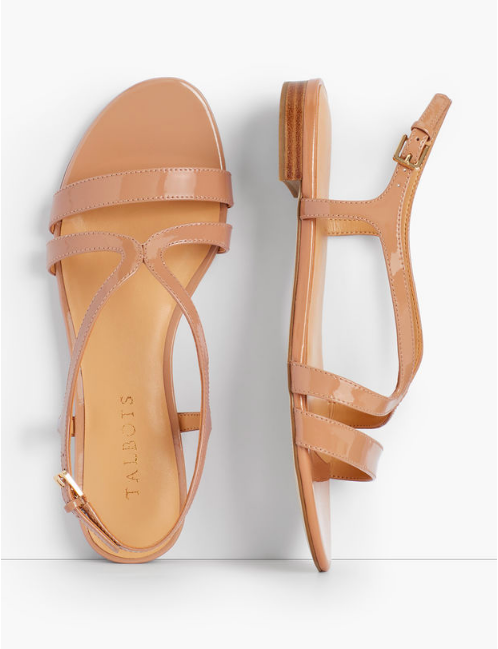 these  shiny patent leather sandals  are about to become our summer uniform!