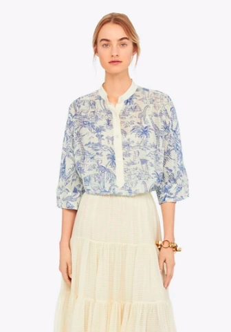 snap up this  airy safari printed blouse  for a steal!