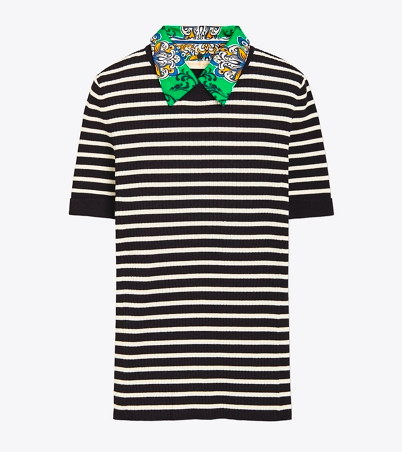 stripes + printed silk collar =  perfection !