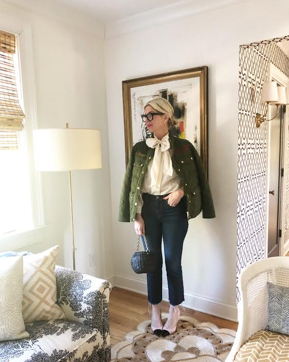 great news - our tie  neck daisy top  is back in stock and on SALE! snap up our  go-to jeans  (they are the most flattering item we own), this  honeypot basket bag , and our favorite  cap toe heels  (they're currently $150 off!)!