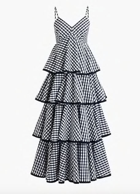 take 35% off this  tiered gingham maxi dress  today!