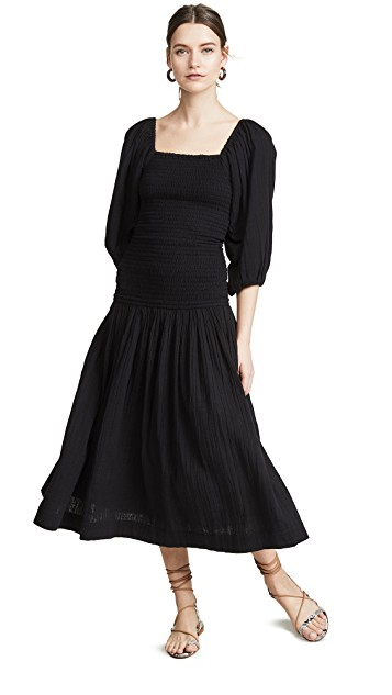 the  perfect black dress  with the sweetest smocking detail!