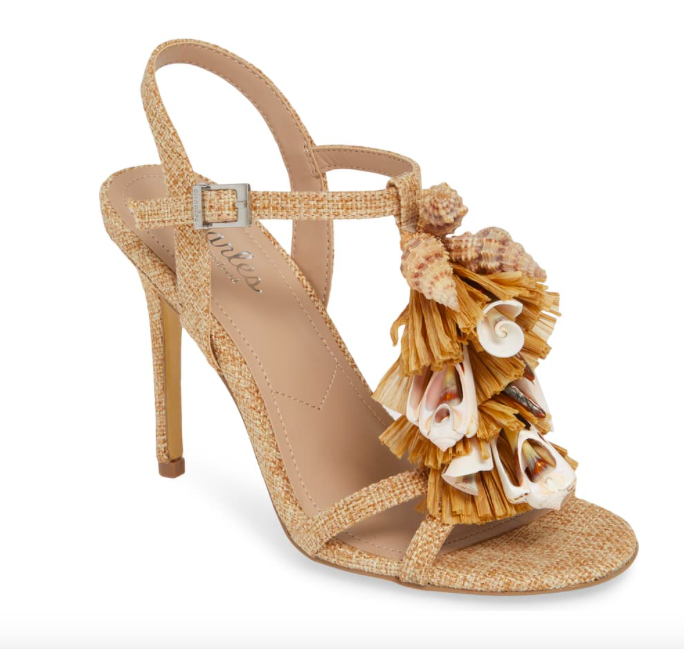 add a nod to the islands with these  shell and raffia heels ! and great news - they're 40% off today!