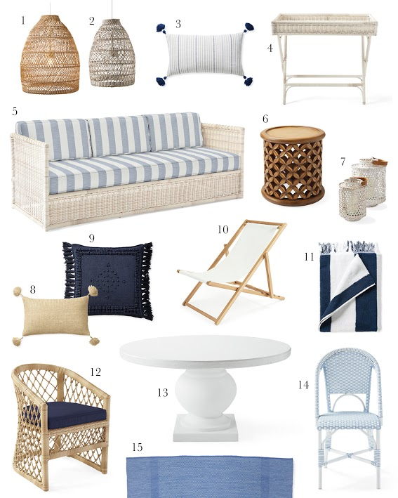 1.  outdoor woven pendant  2.  grey woven pendant  3.  striped pillow cover  4.  weather friendly wicker bar cart  5.  Pacifica sofa in stripe  6.  basketweave outdoor side table  7.  rattan hurricane  8.  tassel pillow cover  9.  textured pillow cover  10.  teak sling chair  11.  striped beach towel  12.  outdoor dining chair  13.  pedestal table  14.  outdoor bistro chair  15.  hand-woven rug