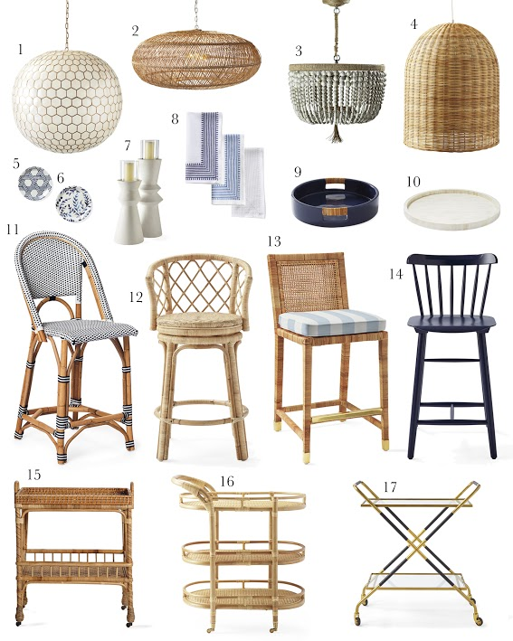 1.  honeycomb chandelier  2.  open weave pendant  3.  beaded chandelier  4.  rattan pendant  5.  blue and white graphic coasters  6.  blue and white floral coasters  7.  pillar hurricanes  8.  block printed napkins  9.  ceramic tray  10.  inlay tray  11.  Rivera barstools  12.  rattan barstools  13.  Balboa counter stools  14.  wooden counter stools  15.  rattan side cart  16.  natural bar cart  17.  brass bar cart