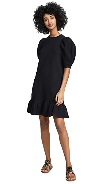 we love the laid back look of this  puff sleeve dress !