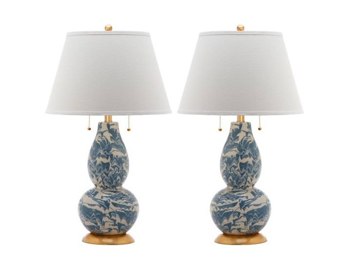 our favorite pair of  blue and white swirl lamps  are a deal not to be missed!