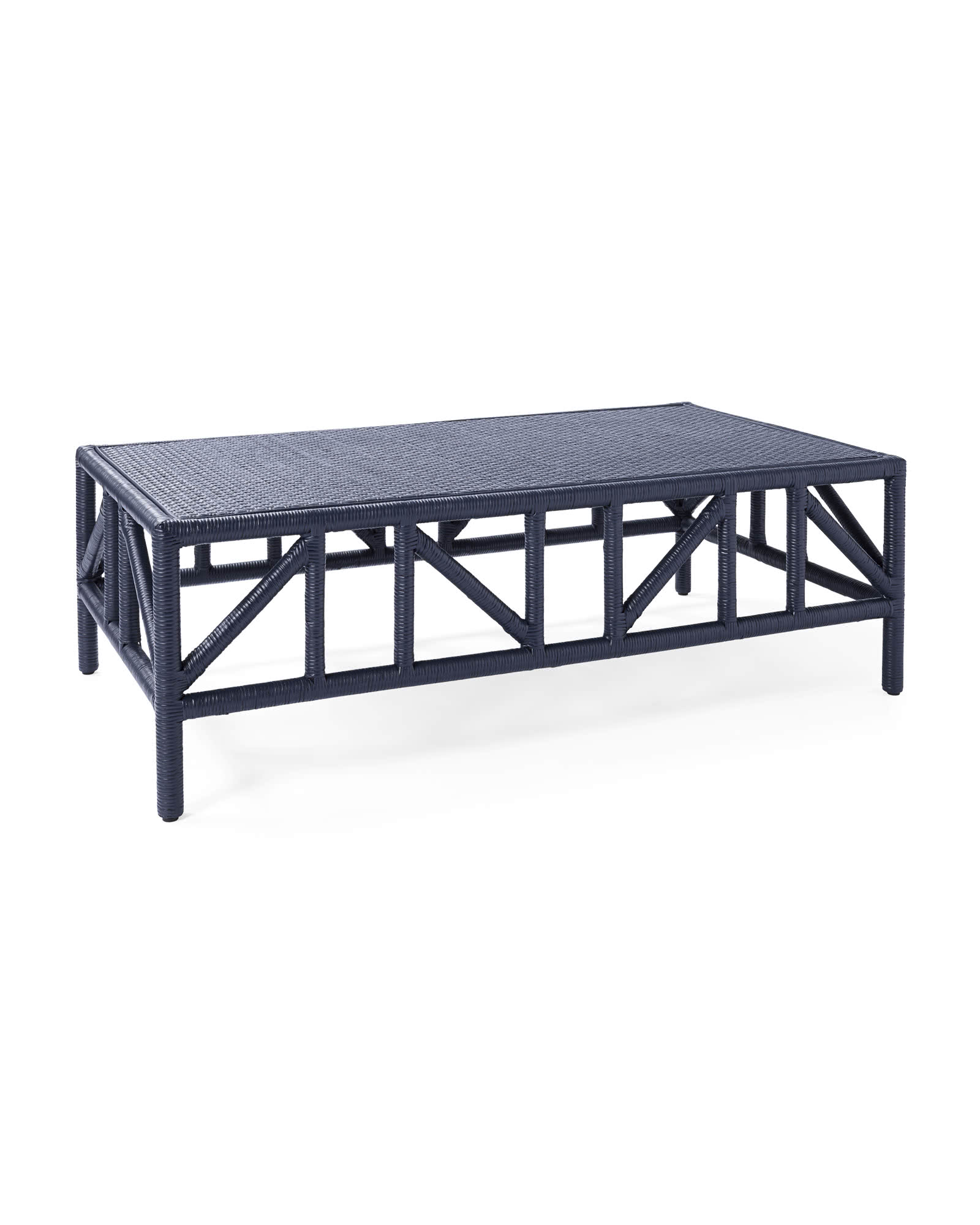 casual rattan goes chic with a rich navy finish on this  coffee table ! snap it up for 20% off!