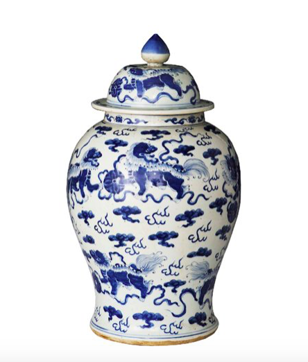 you can't go wrong with a classic  blue and white foo dog jar  - especially when it's on sale for under $150!
