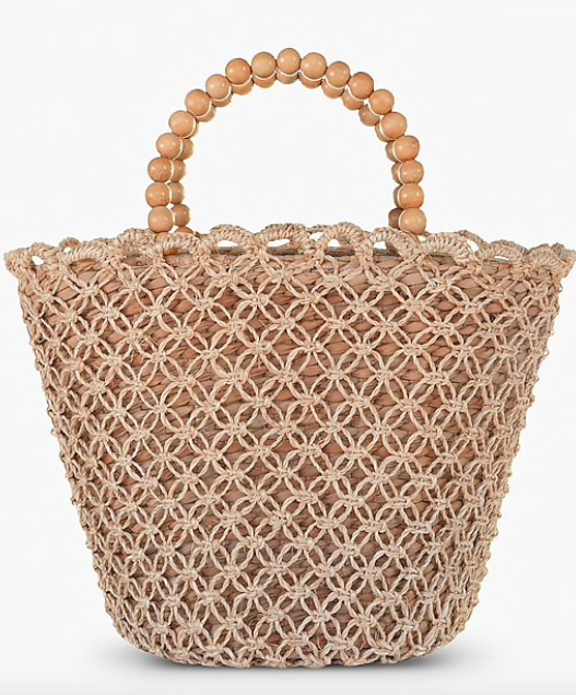 we adore the sweet beaded handle on this  woven tote !