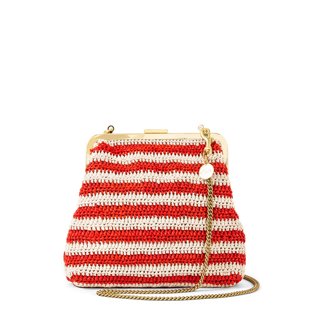 this  handwoven raffia purse  is so versatile with its detachable handle!