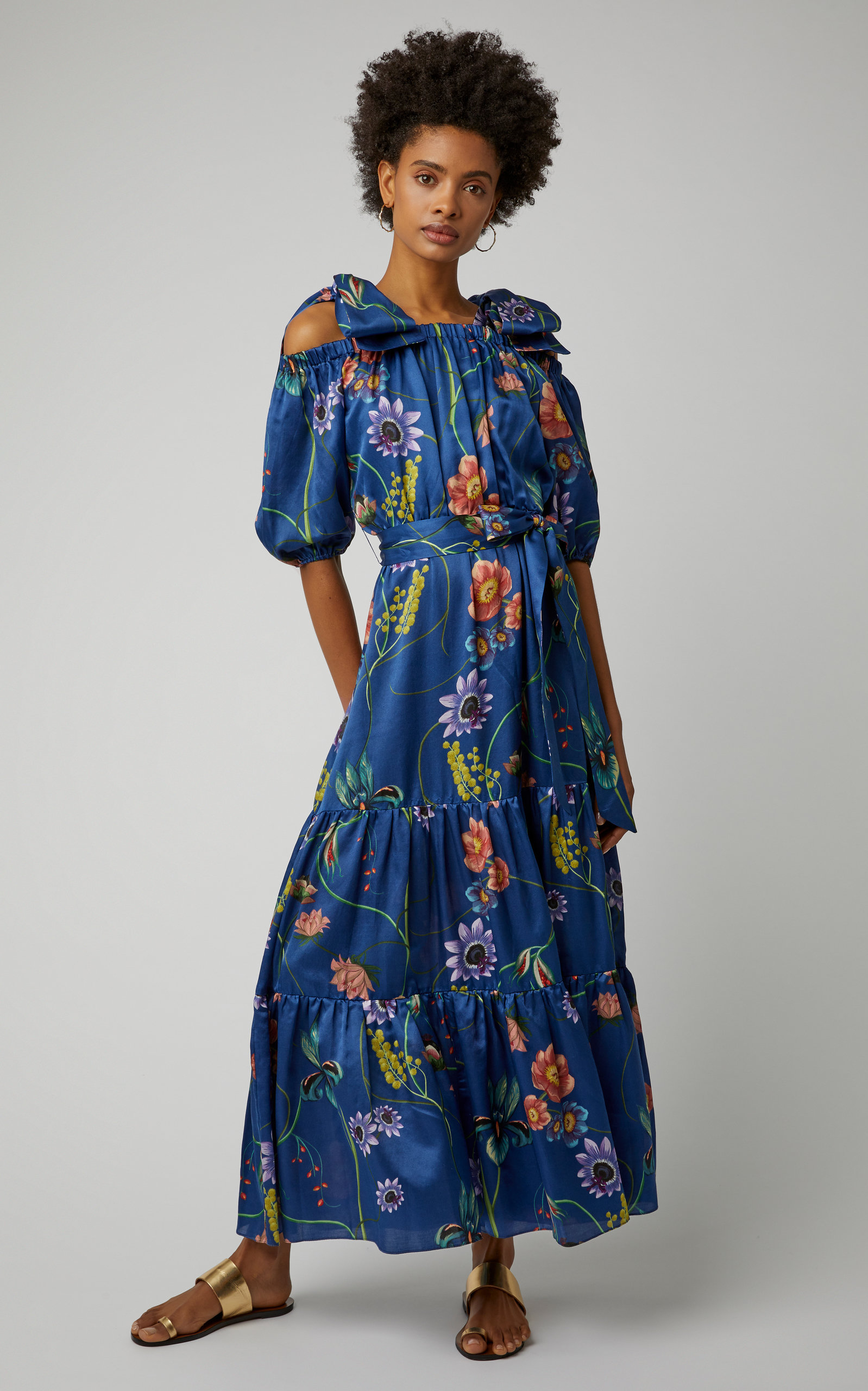this  floral print silk maxi  has stolen our hearts! it's currently 50% off!