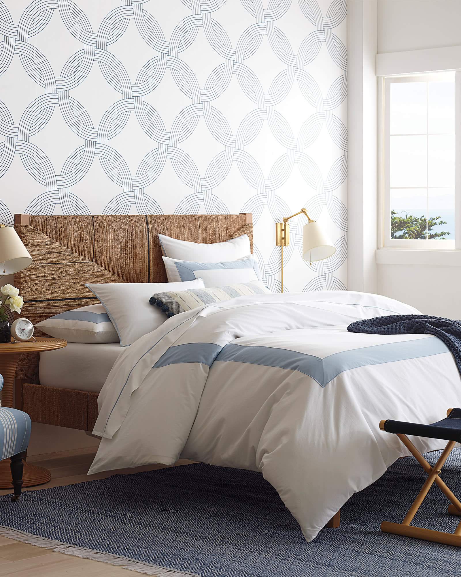 we love the relaxed look of this  geometric rug ! it comes in four colors and can be used indoors or outdoors! shop the entire look:  bed frame  (currently up to 30% off),  duvet  (currently up to 30% off), and  side table !