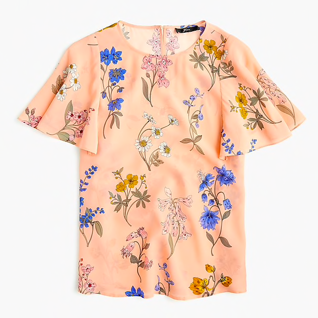 this  silk flutter sleeve top  is a must - currently on sale for $51!
