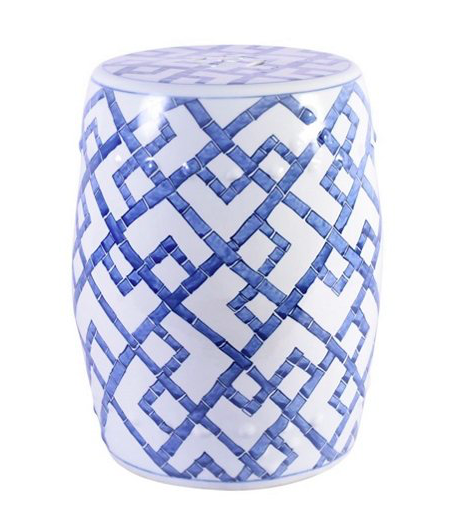 the bamboo inspired pattern on this  garden stool  is perfection and can now be yours for under $150!