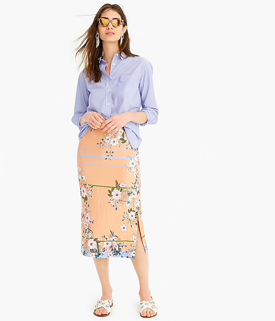 how chic is this  floral midi skirt ?!? it's a deal at $41.40!