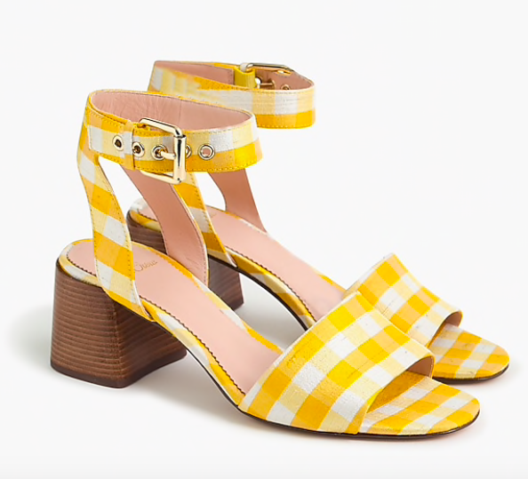 put some pep in your step with these happy  gingham block heels !