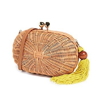take a peek at the darling beaded tassel on this versatile  rattan bag !
