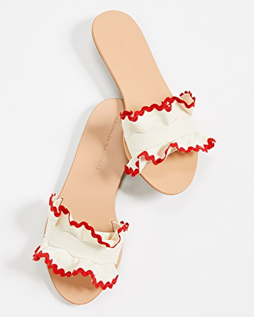 How cute are these  ruffled slides ?!?! They are perfect for summer and Such a steal at just $131!