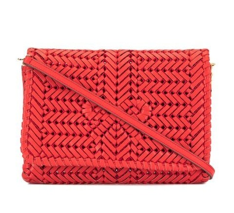 this sweet  woven clutch  is worth every penny… plus, it's in our signature orangey-red!