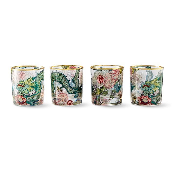 we just scooped up these  Schumacher dragon glasses  and couldn't be more excited!