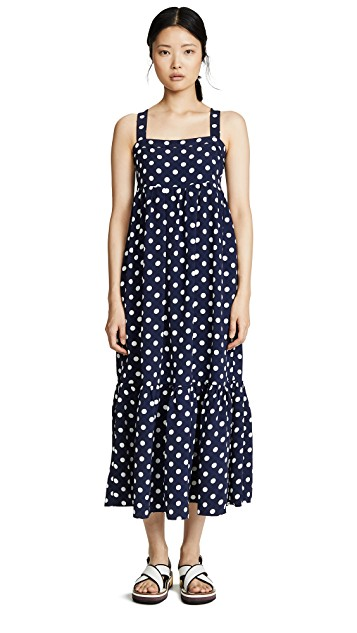 pretty in polka dot! snap this  patterned midi  up for $41!