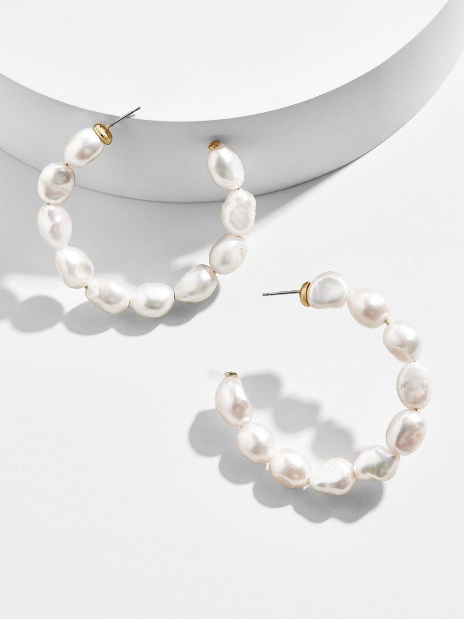 preppy in pearls! dress up any outfit with these  darling hoops !