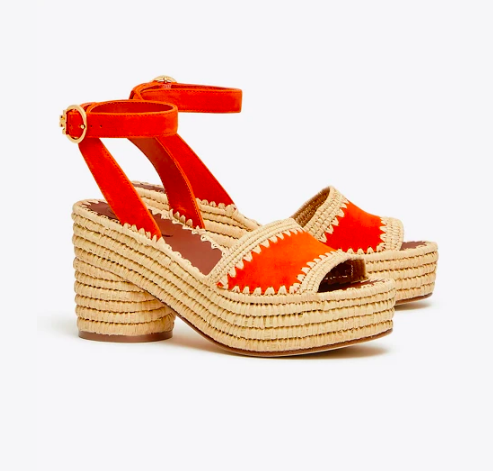 add a pop of color to your outfit with these raffia and orangey red  platforms !