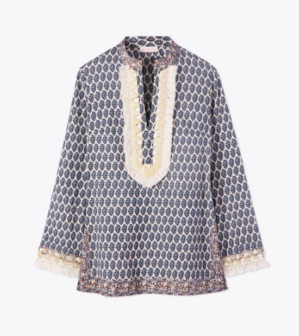 this  shell-strewn raffia trim and tassel  tunic is $99 today!