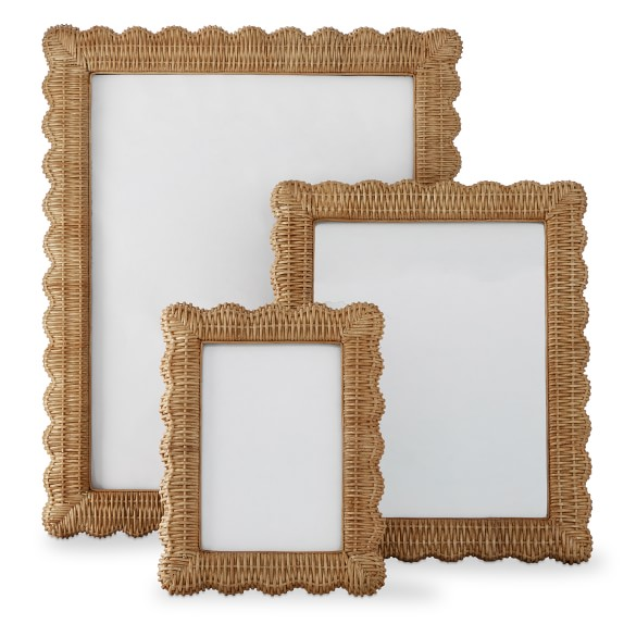 how darling are this  wicker scalloped frames ?!?!