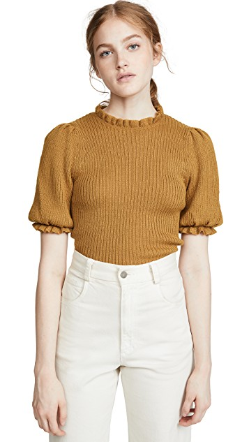 the  puff sleeves  on this sweater are the sweetest!