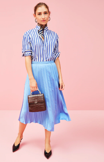 there's nothing we love more than Ladylike pieces that have extra flair with a hint of menswear! snap up this pleated midi skirt  here  and this striped button down  here !
