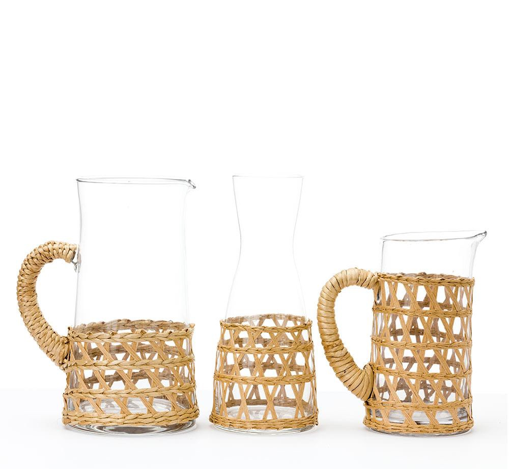 a nod to island living with these  wrapped pitchers and carafes !
