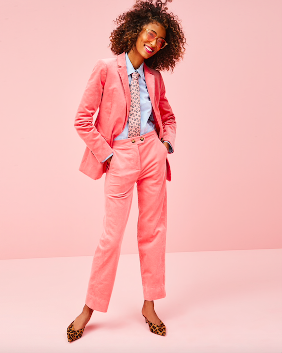 pretty in pink! we are obsessed with this  corduroy suit !