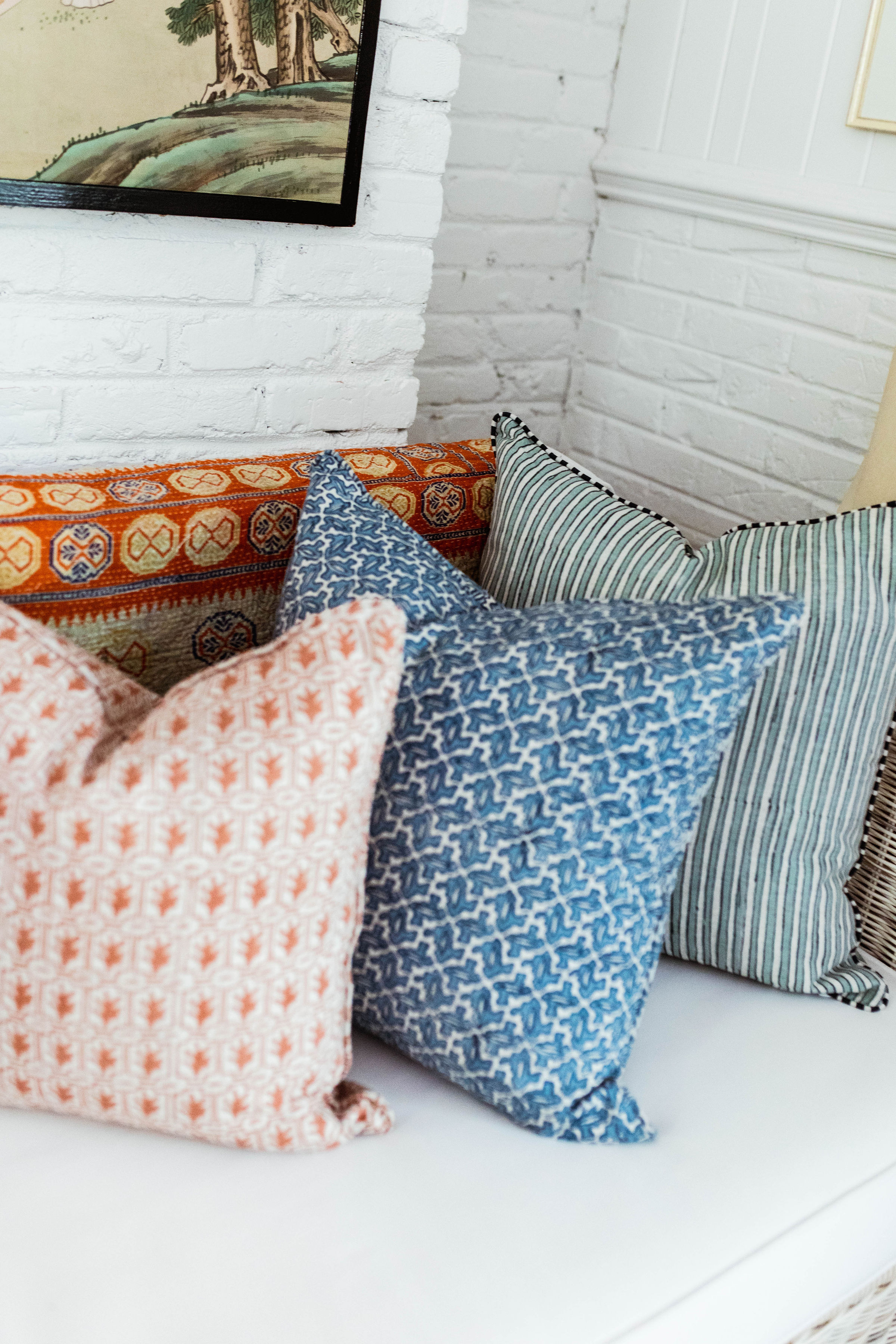 this blue and white  watercolored stripe pillow  is perfection!