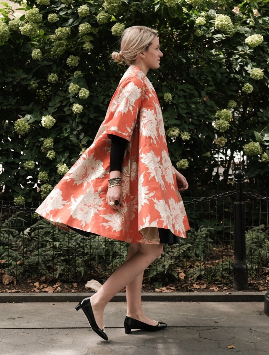 this  tangerine Jacquard Swing Coat  is at the tippy top of our wishlist!