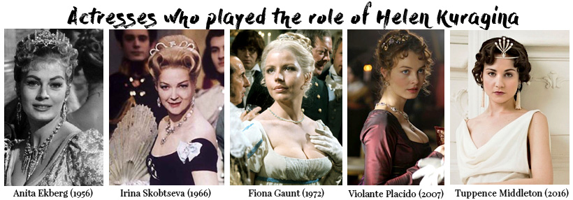 All actresses who played the role of Helen Kuragina in War and Peace. Все актрисы сыгравшие роль Эллен Курагиной в романе Льва Толстого Война и Мир