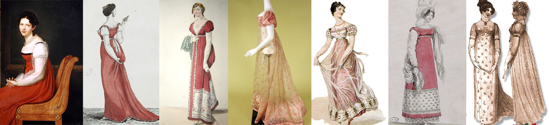 Pink and red Regency Era dress