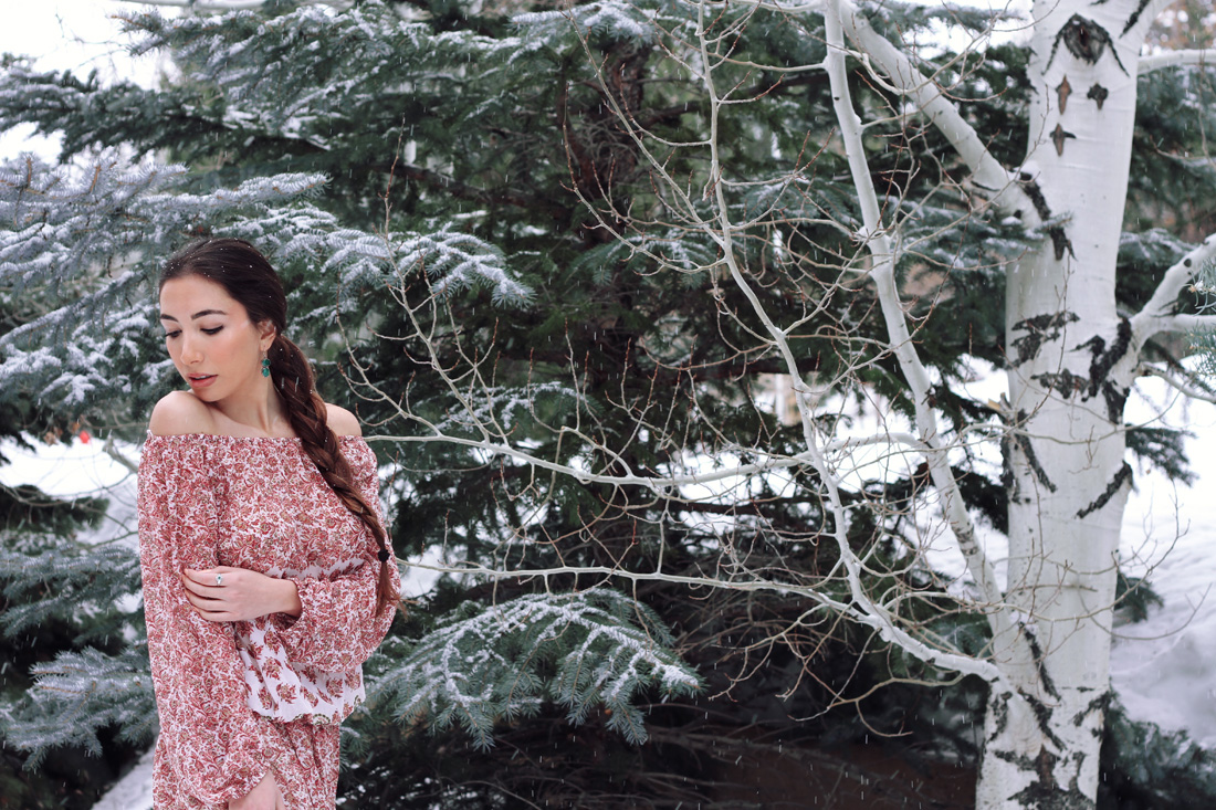 Blogger Ulia Ali in Park City, Utah. As Natasha Rostova in War and Peace on pastiche.today blog