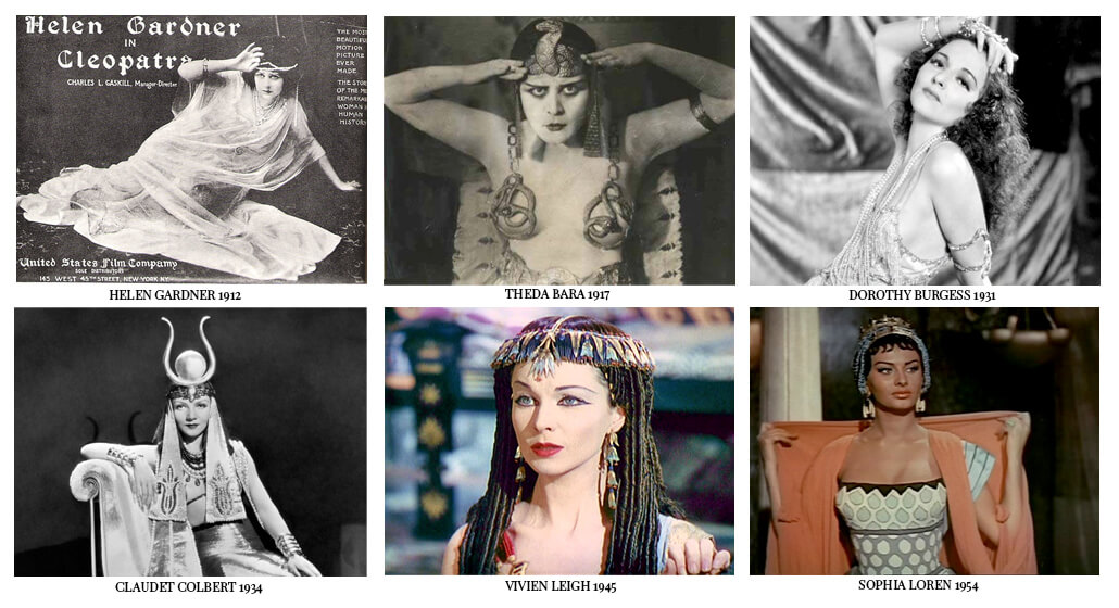 Cleopatra in films. All actress from silent movie to golden 40s and 50s. Vivien Leigh, Sophie Loren, Theda Bara and more
