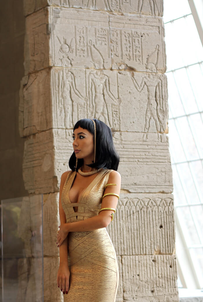 Ulia Ali at The Metropolitan Museum of Art, NYC. In front of the Temple of Dendur