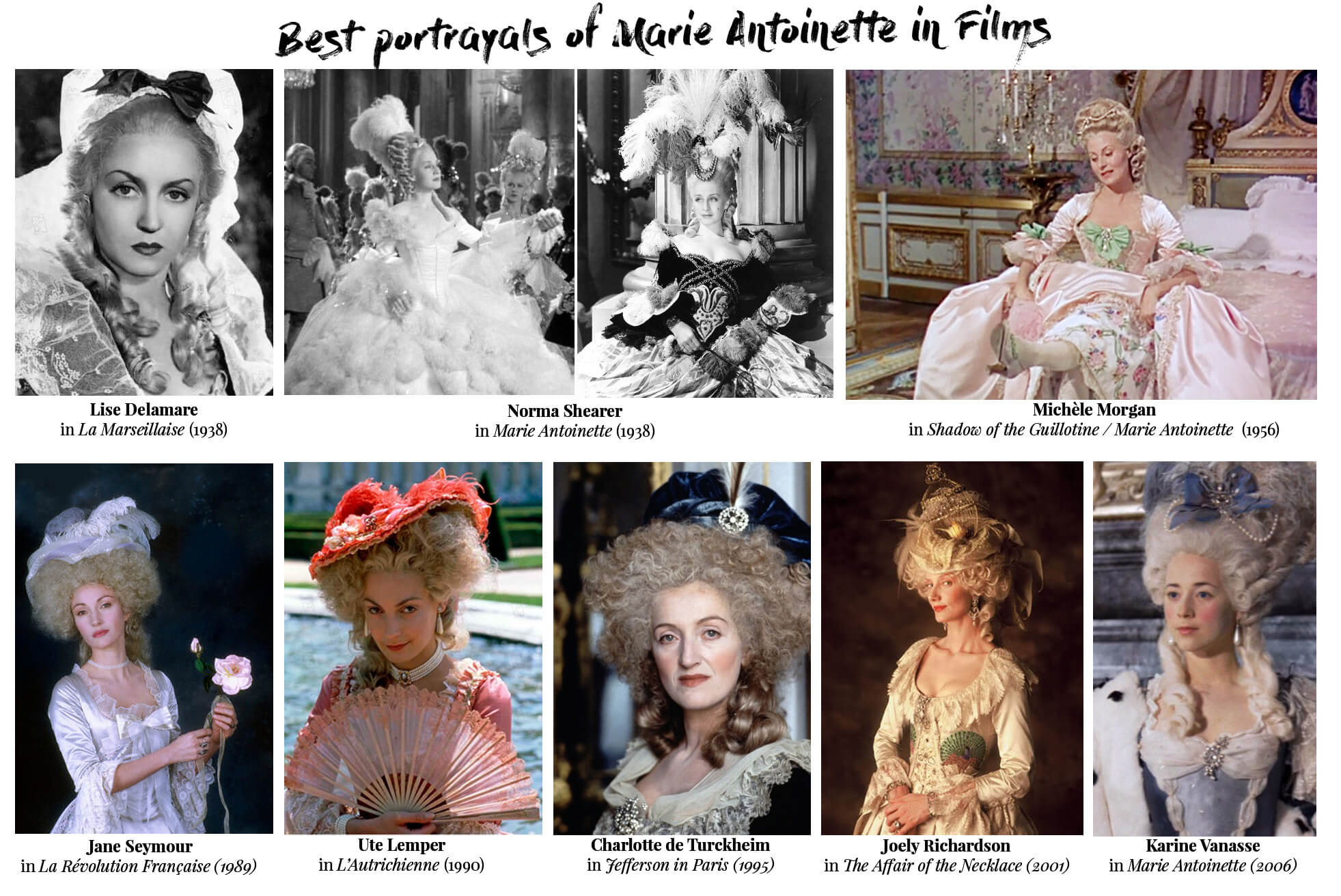 Best portrayals of Marie Antoinette in films. All actresses from 30s to our time