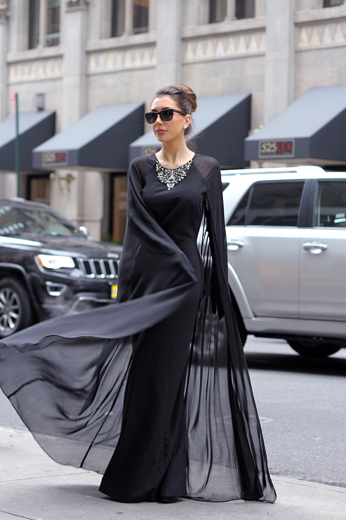 Amazing black cape dress by Vince Camuto
