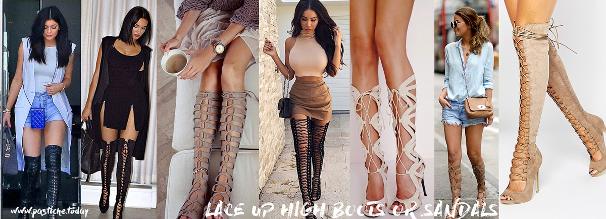 Summer 2016 shoes trend. Knee high boots and sandals